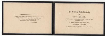 Memorial Card for Catherine Hughes