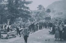 Victory parade through Dolgarrog after WWI
