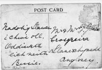 Reverse of postcard, harpist Elizabeth Jones