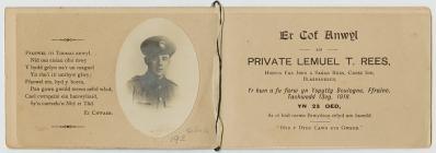 Lemuel Thomas Rees – In Memoriam card
