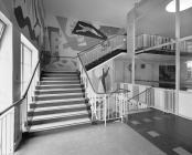 Empire Swimming Pool, Cardiff - stairs and murals