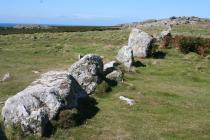 Prehistoric boulder walls, west Skomer