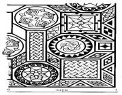 Drawing of a mosaic at Caermead Roman Villa