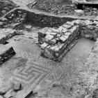 Mosaic floor at Caermead Roman Villa