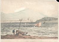 Pysgotwyr a Castell Caernarfon o Ynys Mon