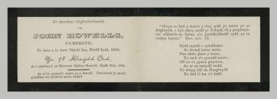Memorial Card details for John Howells, Cwmergyr