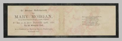 Memorial Card details for Mary Morgan 1866 - 1891