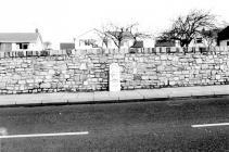 Milestone on A473 in Laleston. 1977