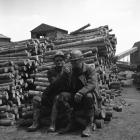 Two Blaenavon miners in the timber yard at the...