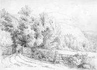 Sketch of road up the Coed Cae by one of the...