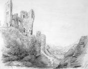 Sketch of Caerphilly Castle by Emma Bacon, 19th...