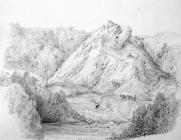 Sketch of Dinas Rock, by one of the Bacon...