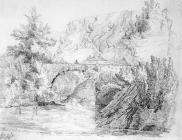 Sketch of Dinas Rock and Bridge by one of the...