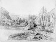 Sketch of Cwm Aman by Lucy Bacon, 19th century
