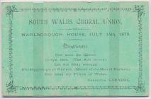 Programme of the South Wales Choral Union'...