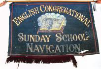 Baner gyda'r teitl 'English Congregational...