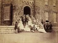 Wedding photograph on steps of Cyfarthfa Castle...