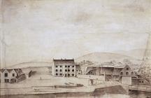'Cyfarthfa House and Works' gan William Pamplin...