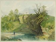 'Man fishing below Cyfarthfa Castle',...
