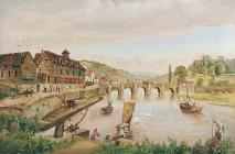 'Wye Bridge and the Barkhouse, Monmouth' gan J....
