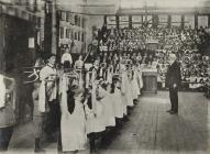 Children exercising at a school in Merthyr...