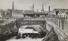 Cyfarthfa Works showing the furnaces, c. 1900