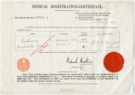 Medical registration certificate issued to...