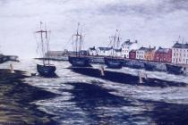 Painting of Aberaeron harbour by Dr  J. Albert...