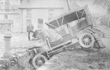 A car in a ditch, Llanbadarn Fawr,  August 1907