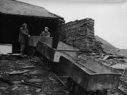 Slate wagons at the top of the incline,...