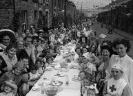 Rhondda street party, 24 August 1954