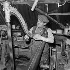 Wilfred Hughes, craftsman and harp restorer,...