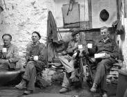 Trefor granite quarrymen enjoying their tea...