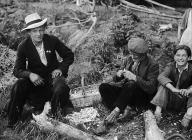 Gypsies making pegs, probably near Swansea, 1...