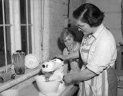 Miss Cutting using a Kenwood Mixer, 1 March 1955