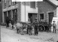 Donkeys outside a warehouse, Pwllheli, c. 1885
