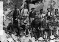 Workers at Cae'r Nant quarry, Llithfaen, c...