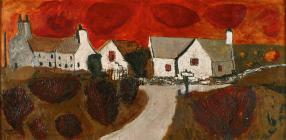 'Red Sky and Farmhouse' by Gwilym...