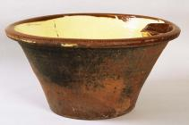 Large brown-glazed pancheon for washing, made...