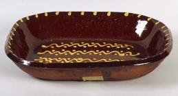 Press-moulded slipware dish, made at Buckley ...