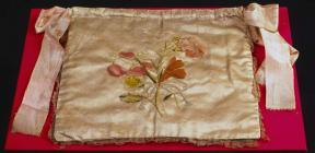 Drawstring bag embroidered by Sarah Ponsonby,...