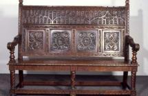 Oak settle made in 1889-94 by Richard Davids,...