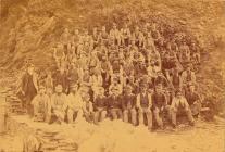 Quarrymen at Henddol, Arthog, Merionethshire, c...