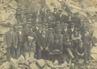 Quarrymen at the Manod granite quarry, Blaenau...