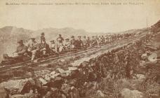 Postcard showing Graig Ddu quarrymen, Blaenau...