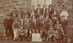 Workers at the Welsh Whisky Distillery, Fron...