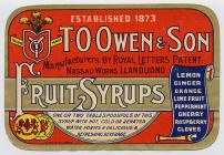 Label potel cwmni cynhyrchu diodydd T. O. Owen ...
