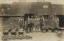Workers at Lamb's Pottery, Buckley, early...
