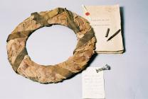 Laurel wreath and First World War Peace Treaty,...