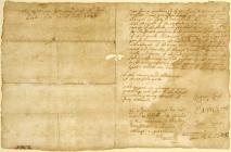 Letter with footnote signed by Oliver Cromwell...